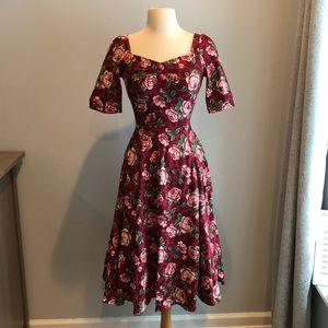 Rose swing midi dress